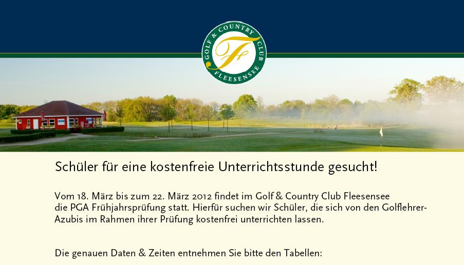 G & CC Fleesensee sucht Schüler für PGA Prüfung