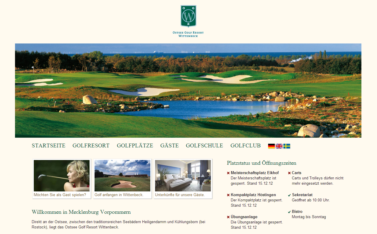 Die Startseite der neuen Webseite des Ostsee Golf Resort Wittenbeck